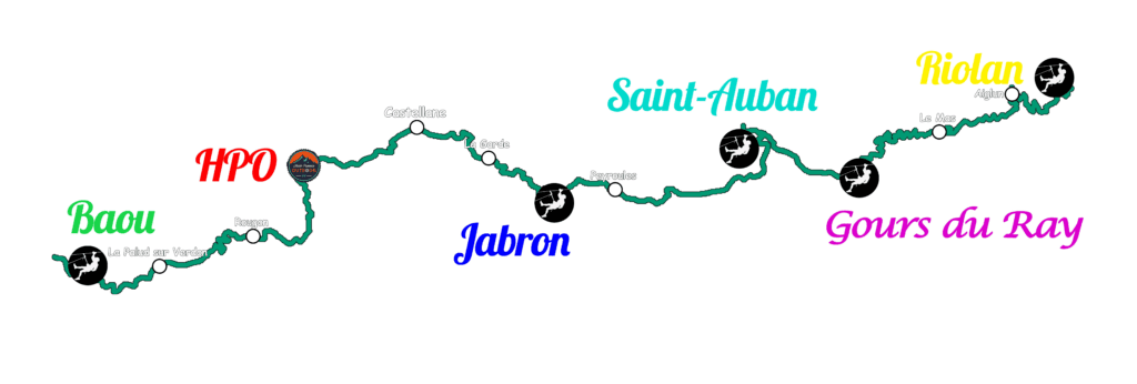 map of the Verdon canyons